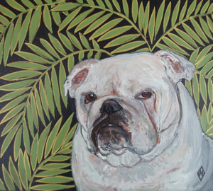 bulldog, english, french, ferns, gifts Dog, pet, lover,  Robins Egg,  Paintings, art, Judy Henn,