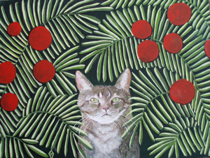 Rousseau's Dream Cat,  Cat, kitten, Robins Egg, Gallery,  Paintings, art, Judy Henn, Henri Rousseau, The Dream, gifts, lovers